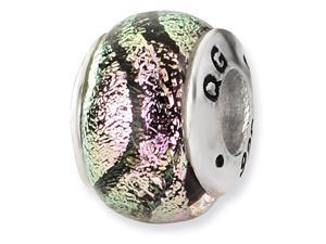 925 Sterling Silver Pink Stripes Dichroic Glass Bead