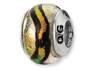 "925 Silver 1/4"" Orange Black Stripe Dichroic Glass Bead"