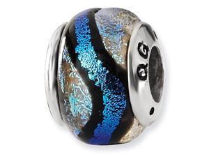 """925 Silver 1/4"""" Blue Black Stripe Dichroic Glass Bead"""