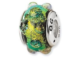 925 Silver Green Bubbles Dichroic Glass Jewelry Bead