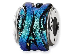 925 Sterling Silver Green Dichroic Glass Charm Bead