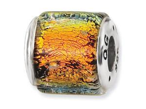 "925 Silver 3/8"" Wide Orange Dichroic Glass Jewelry Bead"
