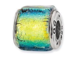 "925 Silver 3/8"" Wide Yellow Dichroic Glass Jewelry Bead"