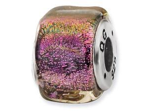 925 Sterling Silver Square Purple Dichroic Glass Bead