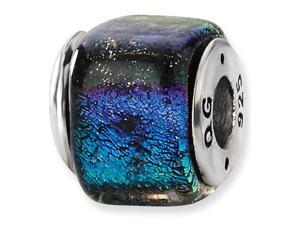 925 Sterling Silver Square Rainbow Dichroic Glass Bead
