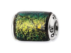 925 Sterling Silver Yellow Barrel Dichroic Glass Bead