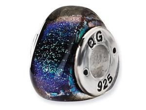 925 Sterling Silver Triangle Green Dichroic Glass Bead