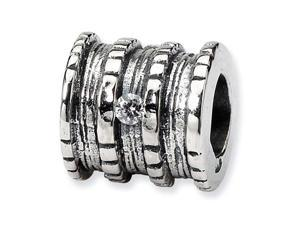 925 Sterling Silver Clear CZ Spool Jewelry Charm Bead