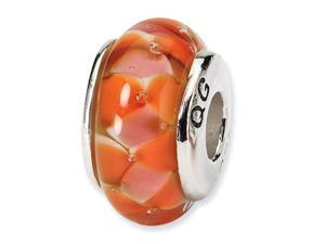 925 Silver Hand Blown Glass Orange White Jewelry Bead