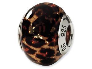 925 Sterling Silver Leopard Italian Murano Glass Bead