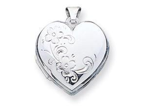 925 Sterling Silver Flower Heart Polished Photo Locket
