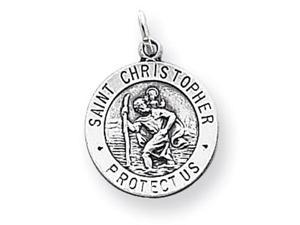 925 Sterling Silver Saint Christopher Antiqued Pendant