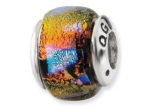 925 Silver Orange Multicolor Charm Dichroic Glass Bead