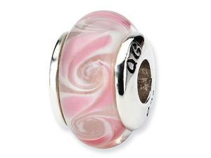 925 Sterling Silver Pale Pink Kids Glass Charm Bead