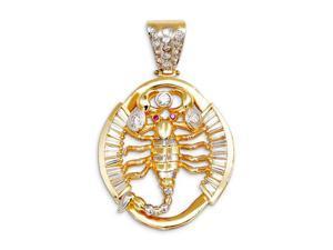 Round Baguette CZ Two Tone 14k Gold Scorpion Pendant