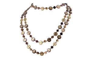 Hamba Wood Acrylic Bead Sequin Long Slip-on Necklace
