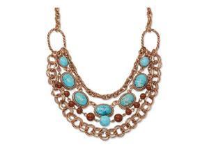 Copper-tone Aqua Brown Beads Multistrand 16in Necklace
