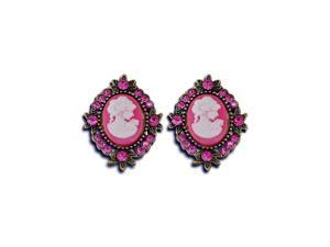 Womens Fashion Pink CZ Diamond Victorian Gold Tone Stud Earrings