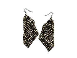 Womens Fashion Gold Black Diamond Mesh Dangling Earrings