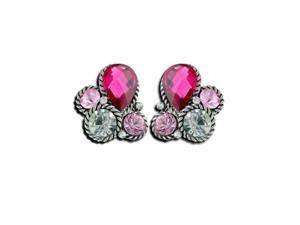 Womens Fashion Pink Pear White CZ Diamond Cluster Post Earrings