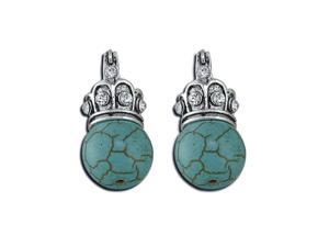 Womens Fashion White CZ Diamond Round Turquoise Dangling Earrings