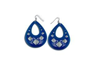 Womens Fashion Blue Enamel Pear Cut Out Dangling Earrings