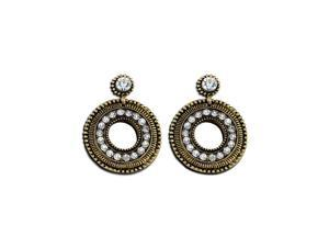 Womens Fashion White CZ Diamond Gold Disc Dangling Earrings