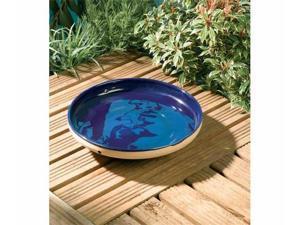 Rainbow-Gardman Mini Glazed Bird Bath Blue