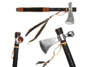 Tomahawk Peace Pipe - 19 Inches with Wood Handle