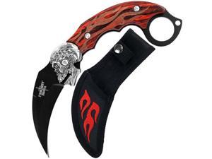Fire Skull Karambit Stainless Steel w/ Sheath - 7.5 inches