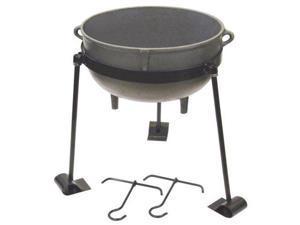 Bayou Classic 30-Gallon Cast Iron Jambalaya Pot with Tripod Stand and 2 Lif