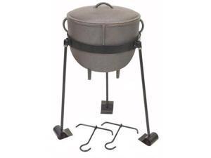 Bayou Classic 4-Gallon Cast Iron Stew Pot with Cast Iron Lid, Tripod Stand,