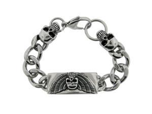 Men'S Stainless Steel Black Ion Plating Skull Bracelet