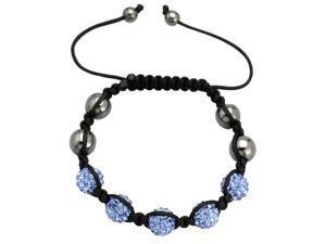 Light Blue Crystals on Black String Adjustable Bracelet