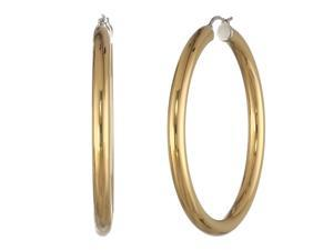 Metro Jewelry Stainless Steel Fashion Hoop 50MM Earrings with Gold Ion Plating