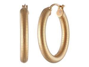 Metro Jewelry Stainless Steel Fashion Hoop 20MM Earrings with Gold Ion Plating