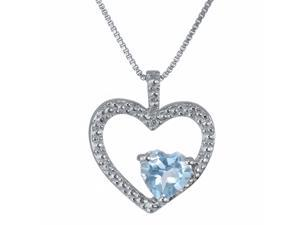 3.51 Ct Heart Sky Blue Aquamarine and Diamond 925 Sterling Silver Pendant