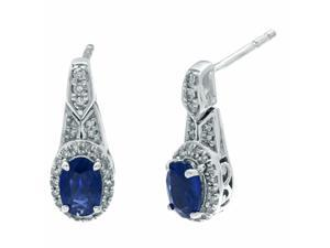 1.00 Ct Oval Blue Sapphire Diamond Earrings 925 Sterling Silver (.21cttw, I-J)