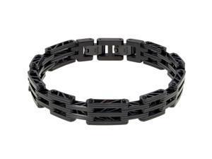 """Metro Jewelry Stainless Steel """"Bridge"""" Link Bracelet Black Ip a Lock Extender"""