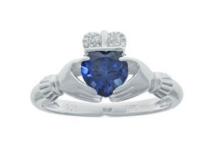 .97 Ct Heart Blue Sapphire and Diamond Accent 925 Sterling Silver Ring Size 5