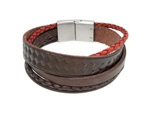 Metro Jewelry Stainless Steel And Leather Bracelet
