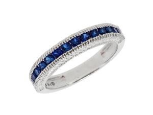Metro Jewelry Women's Sterling Silver Ring Created Sapphire