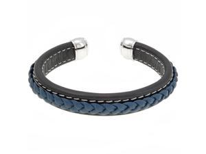 Metro Jewelry Stainless Steel And Leather Bangle