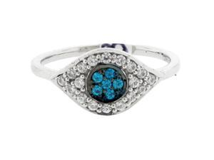 1/3 cttw Blue and White Diamond 925 Sterling Silver Ring Size 6