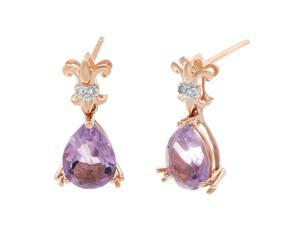 Metro Jewelry Woman's 10K Rose Gold Earrings with Pink Amethyst and Diamonds