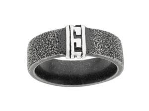 Metro Jewelry Stainless Steel Ring Texture and Black Ion Plating