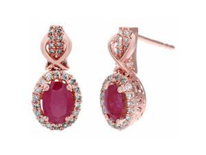 10K Rose Gold, Ruby and Diamond Oval Earrings (.29cttw, I-J Color, I2-I3)
