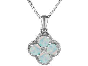".64 Ct Round White Opal Sterling Silver Flower Pendant 18"" Chain"