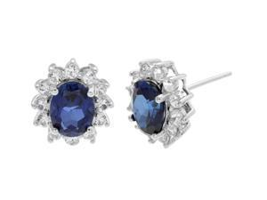 1.50 Oval Blue Sapphire and White Sapphire Earrings in 925 Sterling Silver