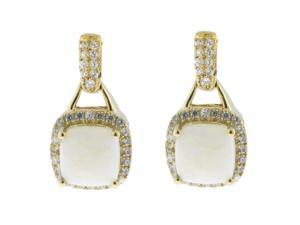 Metro Jewelry Woman's 10K Yellow Gold Earrings with created-opal and Diamonds